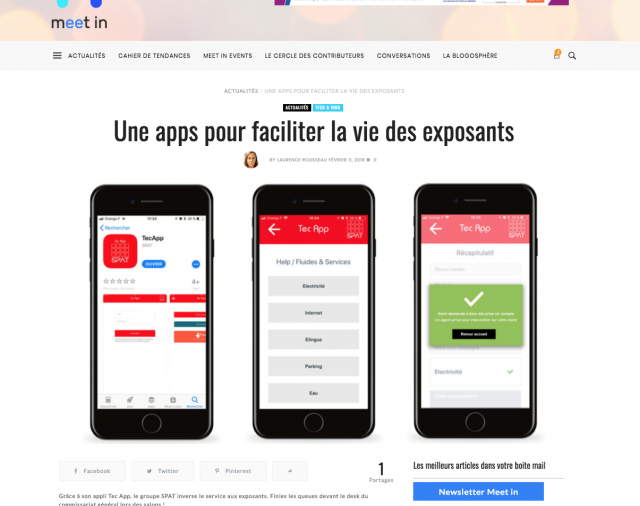 the TEC APP app is honored on the Meet In website