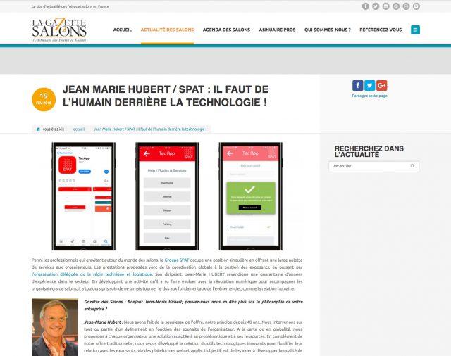 JEAN MARIE HUBERT / SPAT : IL FAUT DE L'HUMAIN DERRIÈRE LA TECHNOLOGIE !